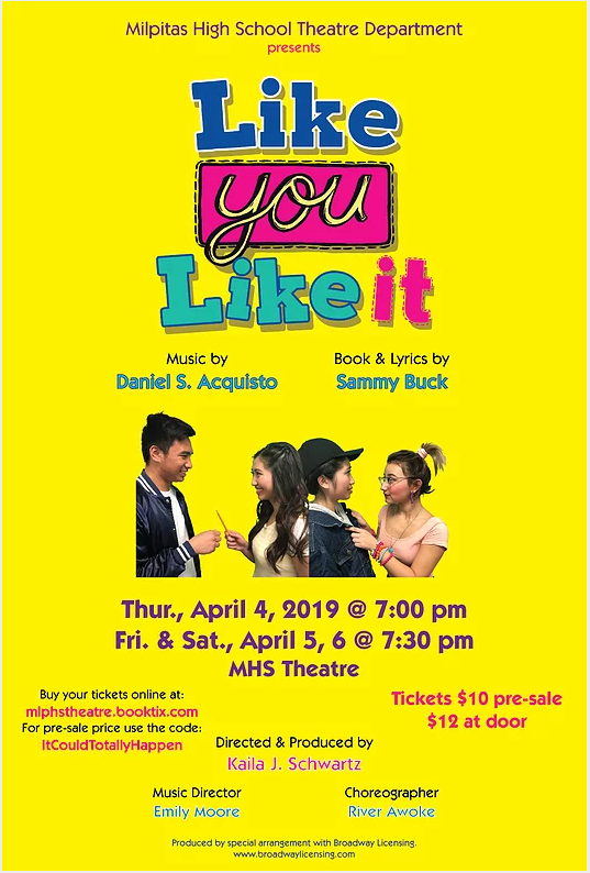 MHS Theatre Spring Production - Like you Like it @ MHS Theatre