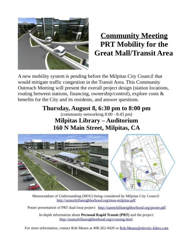 Community Meeting PRT Mobility for the Great Mall/Transit Area @ Milpitas Library - Auditorium