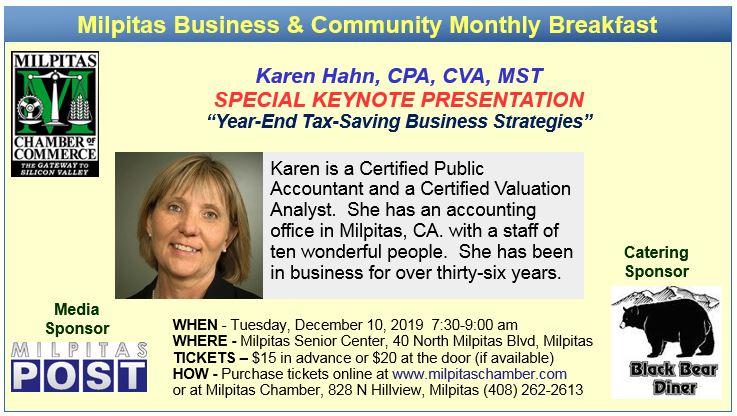 Milpitas Chamber Business Breakfast - Speaker: Karen Hahn @ Milpitas Senior Center