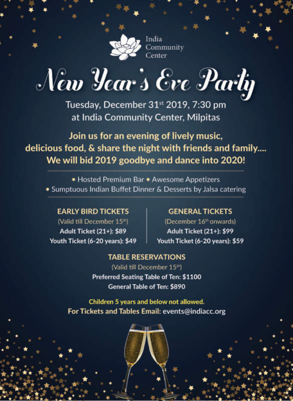 ICC New Year's Eve Party 2020 @ India Community Center
