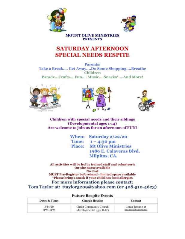 Special Needs Respite @ Mt Olive Ministries